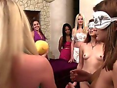 Real college teens scissoring at initiation