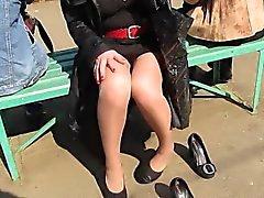 dilettante feticismo del piede hd all'aperto voyeur
