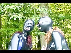 outside leather mask brunette