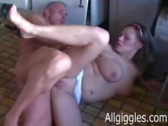 amateur homemade kitchen maid couple