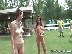 Hot blonde babes go crazy rubbing their part2