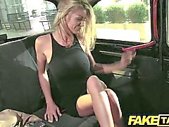 couple blonde caucasian amateur car