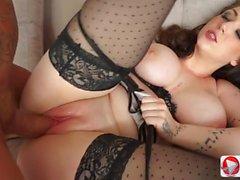 big tits brunette blowjob babe stockings