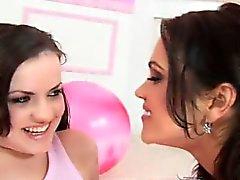 brunette fingering lesbian lick