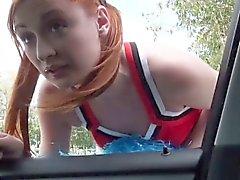 Redhead chick Eva goes wild outdoor sex