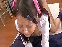 asian cumshot facial japanese brunette