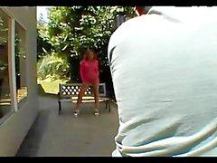 behind-the-scenes photoshoot booty heels model