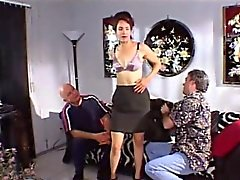 blowjob brunette gangbang interracial