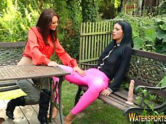 Strapon lesbos pissed on