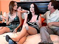 Lee's new wife wanted to surprise him for his birthday, so she decided to give him something he really wanted...his best friend's wife! These hot wives decide to swap spouses in hardcore swinger sex that begins with the babes titillating their twats on hu