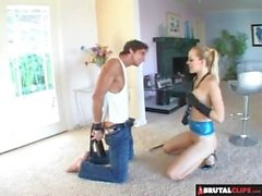 BrutalClips - Dominatrix Plays With Her Sex Slave And Drinks His Cum