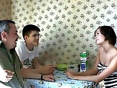 brunette cuckold old young russian