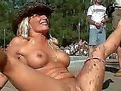 outdoors lesbians party public pool