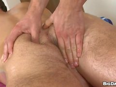 Boy takes this body builders hard red rod