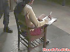 Breastbonded ebony sub restrained