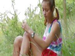 amateur brunette nature outdoor