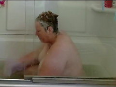 Fat Chrissy rub's one off in the bath tub again
