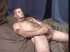 big cocked hot straight hairy soldier gets sucked..cums twice