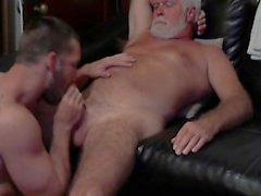 hairy daddyboy cum-in-mouth daddy blowjob