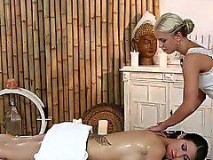 blonde brunette fingering lesbian massage