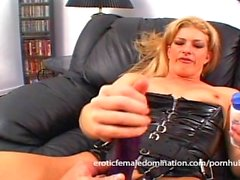 Horny slave makes his mature blonde mistress a very happy woman