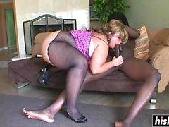 Black guy bangs a busty chick
