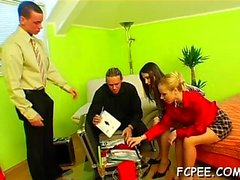 Smashing chicks hard drilled in wild foursome dressed xxx