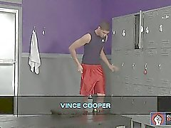 Vince Cooper gets busy with some dildos in the locker room