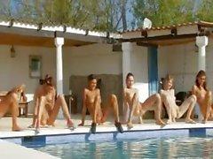girl nude pool stripping lesbian