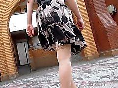 amateur flashing stockings