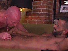 bald brunette tattoo cock sucking uncut stud hunk licking hand job rimming doggy