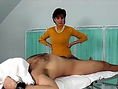 brunette cfnm handjob massage