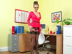 nylon secretary tease babe brunette