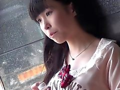 Oriental teen piss public