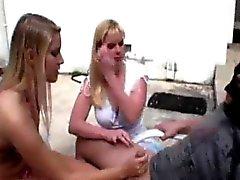 blonde handjob milf