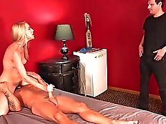 Hot Blonde Wife and Sissy Husband Share a Big Fat