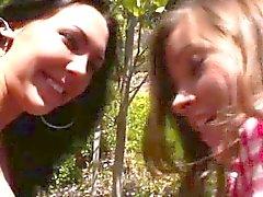brunette lesbian outdoor teen