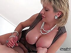 big boobs blonde handjob mature
