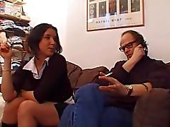 vintage blowjob brunette young-and-old threesome