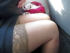 Girl flashing stockings tops in a bus
