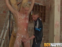 Skinny twink dominated and jerked off by his dominant master
