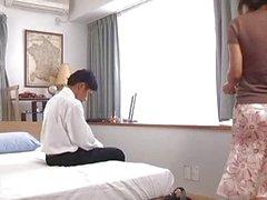 couple brunette asian kissing japanese