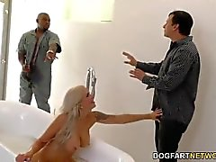 Cuckold boyfriend watches Nina Elle gets fucked by BBC