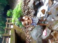 Srilankan woman Bath