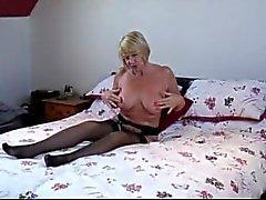 British Blonde MILF-GILF Amy Strips and Fucks