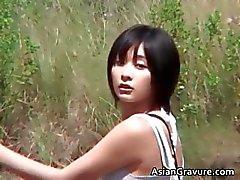 aziatisch brunette interraciale model