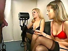 2 sexy blond stocking & high heel femdom Ball Busters