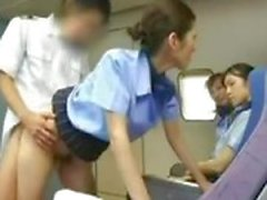 asian stewardess blowjob skinny airplane