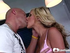 Angelic blonde gets pounded in various positions