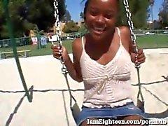 18 Year Old Ebony Girl Gets Fucked On Camera!